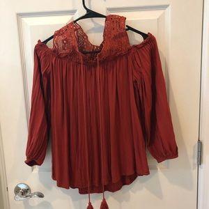 PPLA rust blouse peek a boo shoulders XS